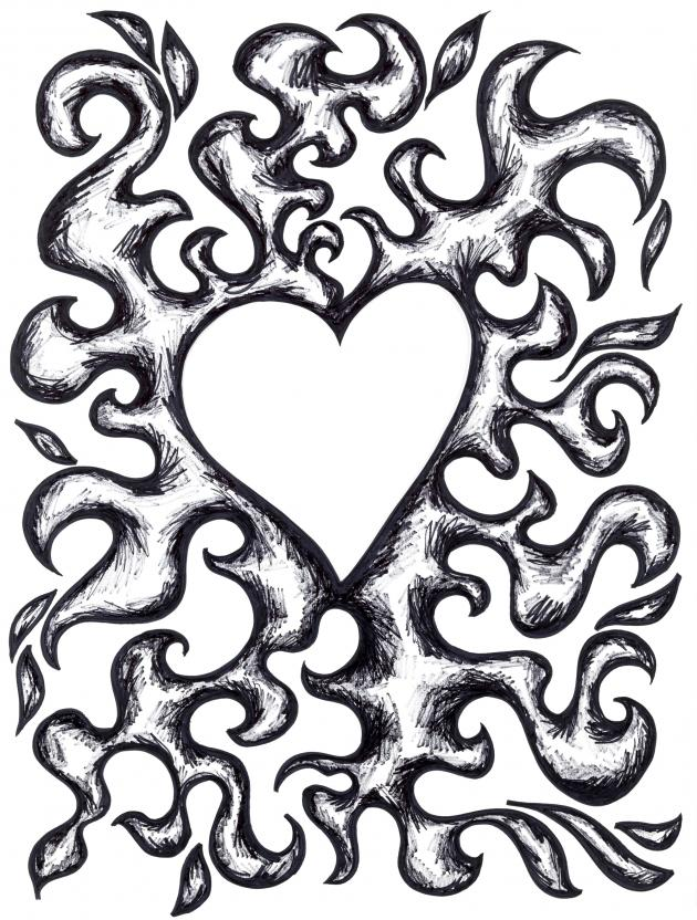 Coloring Pages Hearts On Firer
